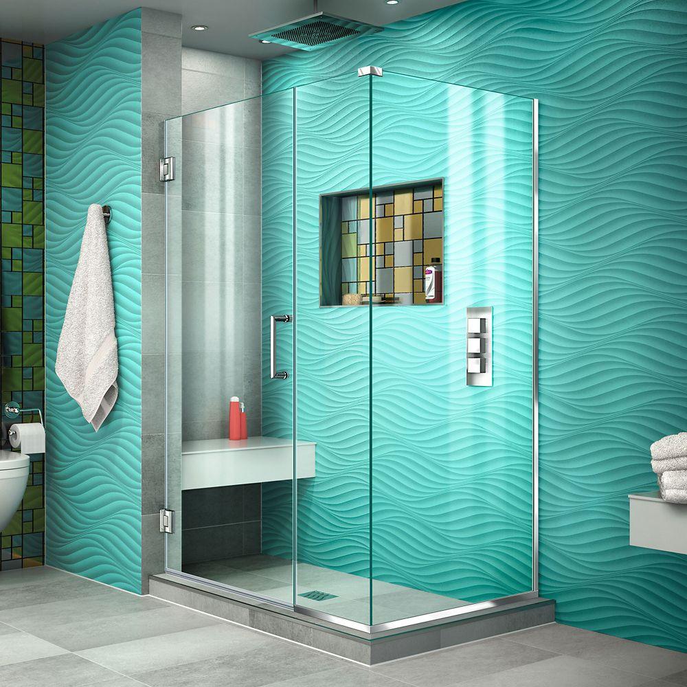 DreamLine Unidoor Plus 42-inch x 72-inch Semi-Frameless Corner Hinged Shower Door in Chrome with Handle