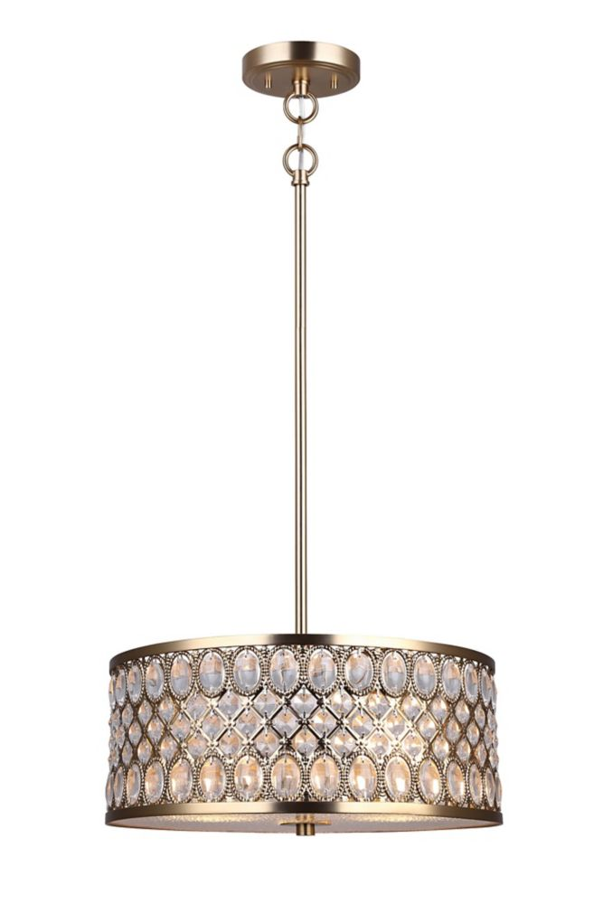 Canarm Ltd Baillie 3-Light Soft Gold Chandelier With Frosted Glass Diffuser