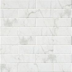 Carreaux de porcelaine pour murs Classique White Carrara Glossy de 4 po x 16 po (11,11 pi ca/boîte)