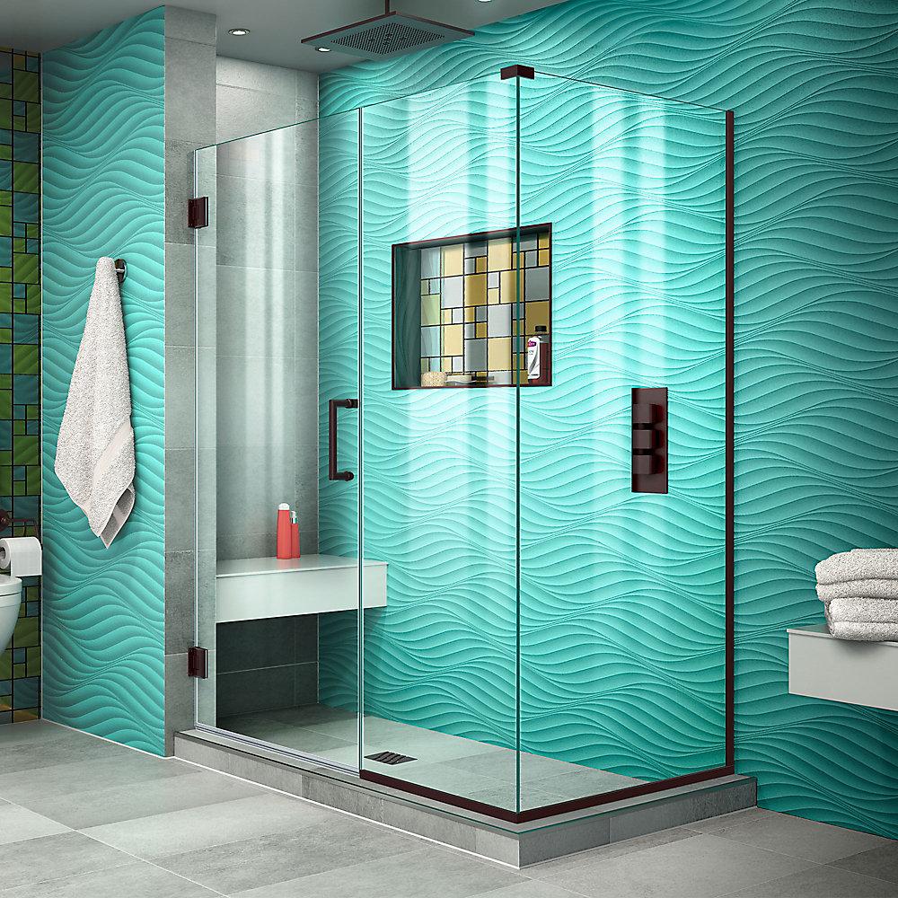 DreamLine Unidoor Plus 77 x 116 x 183 cm Cabine de douche Articulée Sans cadre, fini Bronze Huilé