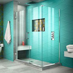 DreamLine Unidoor Plus 46 1/2 inch W x 34 3/8 inch D x 72 inch H Shower Enclosure Chrome