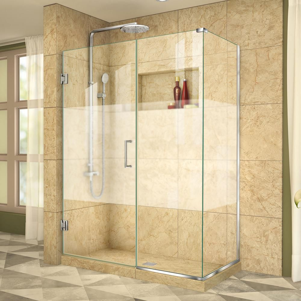 Unidoor Plus 34-3/8-inch x 46-1/2-inch x 72-inch Hinged Shower Enclosure with Half Frosted Glass Door in Chrome