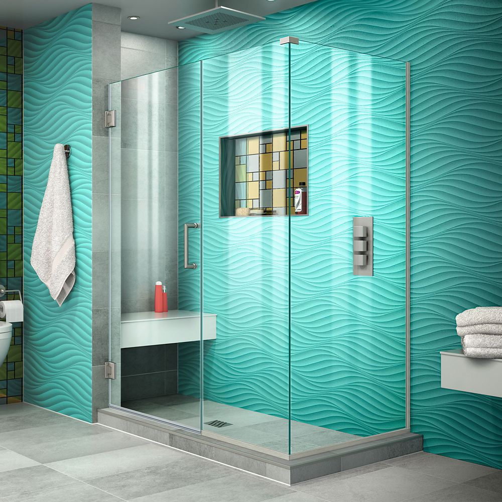 DreamLine Unidoor Plus 30-3/8-inch x 48-inch x 72-inch Hinged Shower Enclosure in Brushed Nickel