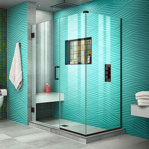 DreamLine Unidoor Plus 30-3/8x 51x 72Semi-Frameless Hinged Shower Door Enclosure with Hardware in Oil Rubbed Bronze