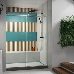 DreamLine Enigma-X 56-inch to 60-inch x 76-inch Frameless Sliding Shower Door in Brushed Stainless Steel