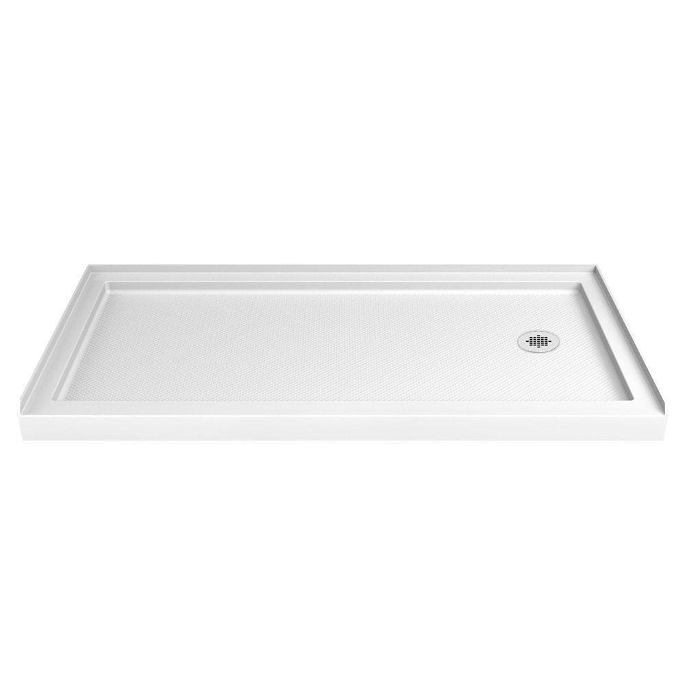 SlimLine 36 Inch X 60 Inch Single Threshold Shower Base In White