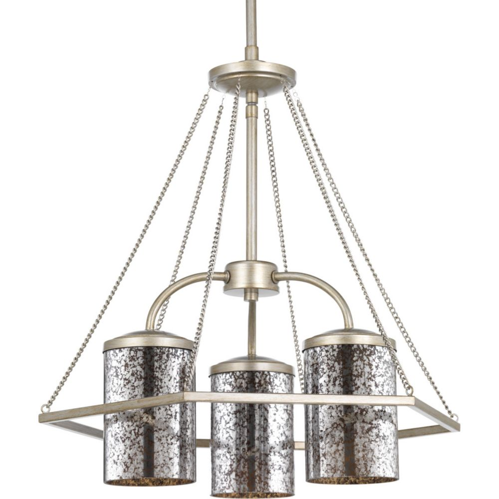 Progress Lighting Indi Collection 3-light Silver Ridge Chandelier