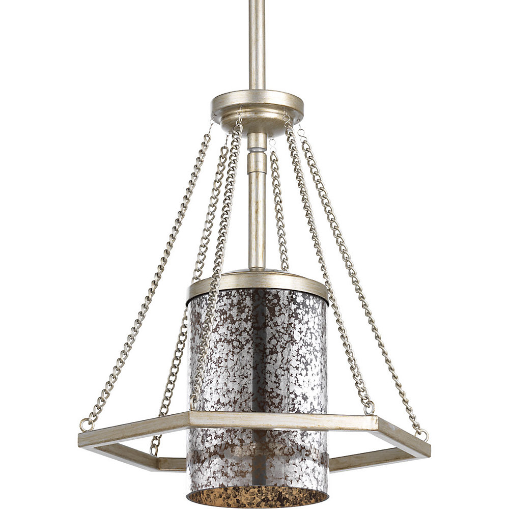 Collection Indi – Mini-luminaire suspendu à ampoule unique, crête argentée