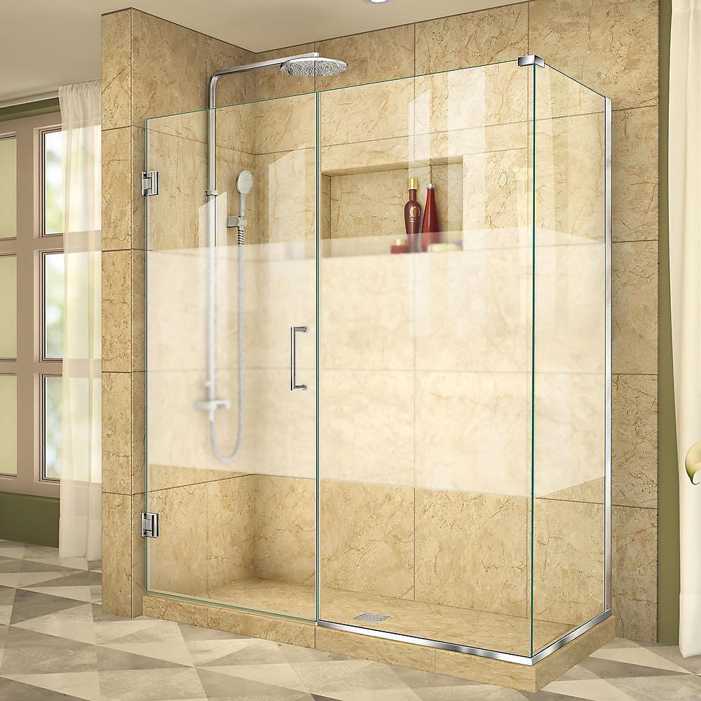 Unidoor Plus 30-3/8-inch x 54-1/2-inch x 72-inch Hinged Shower Enclosure with Half Frosted Glass Door in Chrome