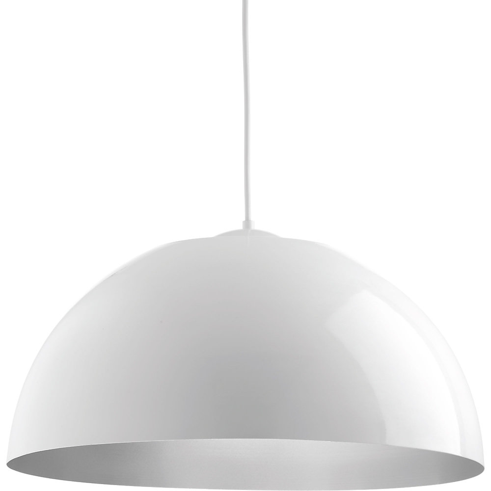Dome collection integrated led white pendant light fixture