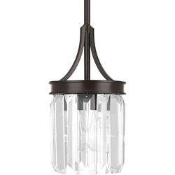 Progress Lighting Collection Glimmer – Mini-luminaire suspendu à ampoule unique, bronze antique