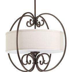 Progress Lighting Collection Overbrook – Luminaire suspendu à troisampoules, bronze antique