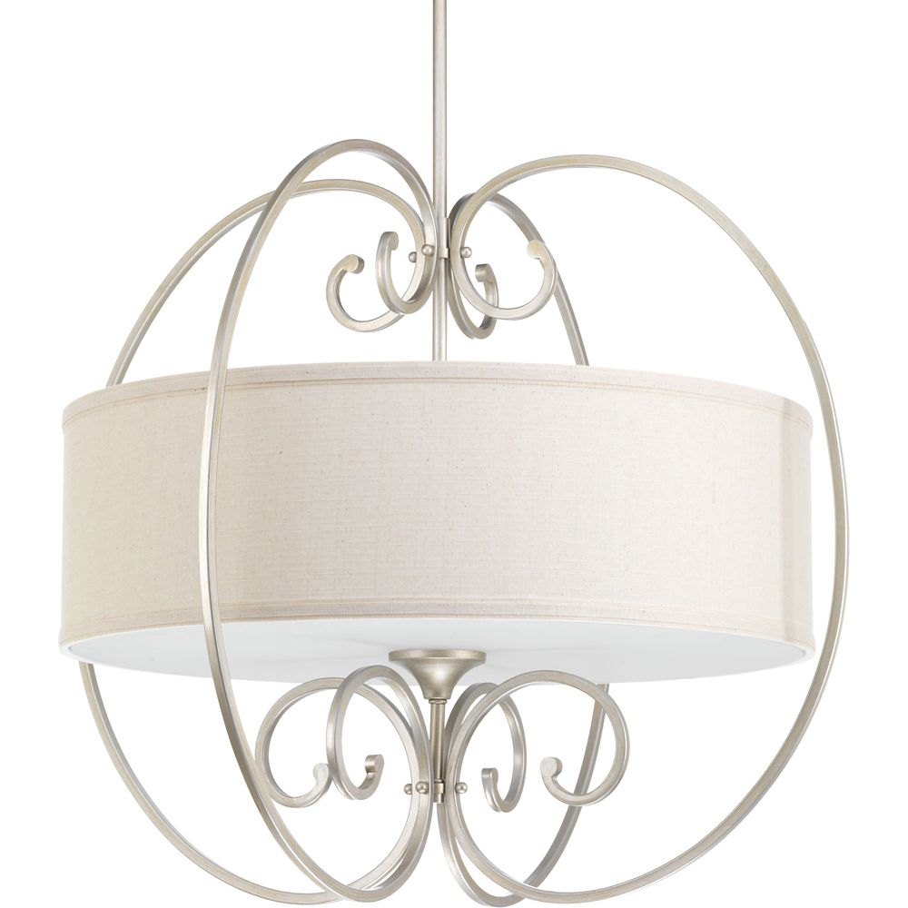 Progress Lighting Overbrook Collection 4-light Silver Ridge Pendant