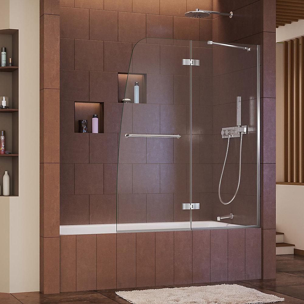 Aqua Ultra 48-inch x 58-inch Semi-Frameless Pivot Tub/Shower Door in Glass with Chrome Handle
