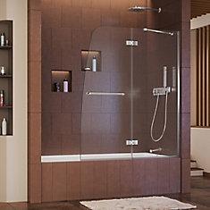 Aqua Ultra 48 Inch X 58 Semi Frameless Pivot Tub Shower
