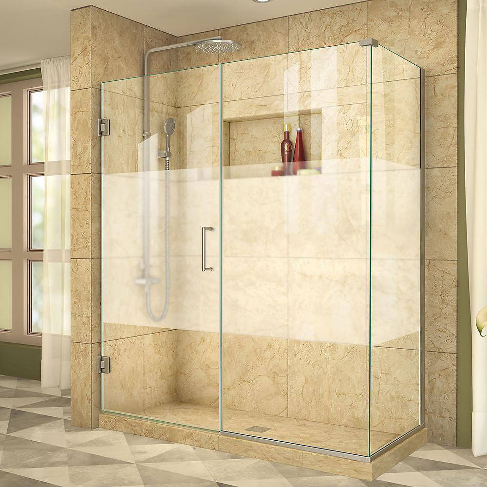 Unidoor Plus 55-1/2-inch x 30-3/8-inch x 72-inch Semi-Frameless Hinged Shower Enclosure in Brushed Nickel