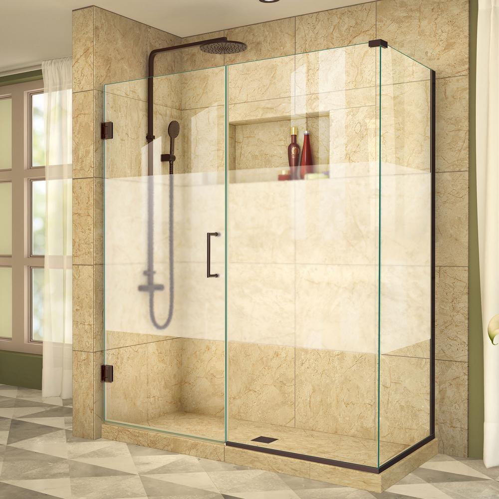 DreamLine Unidoor Plus 34-3/8x 55-1/2x 72Semi-Frameless Hinged Shower Door Enclosure, Half Frosted Glass Door in Oil Rubbed Bronze
