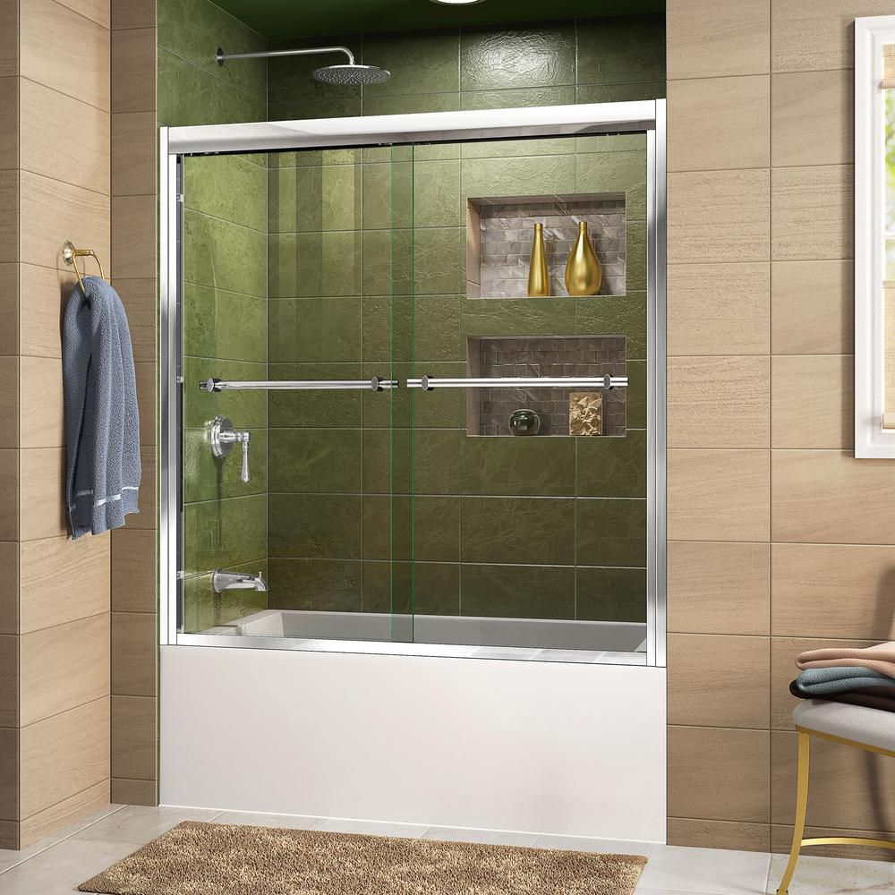 DreamLine Duet 56-inch to 59-inch x 58-inch Semi-Frameless Bypass Tub Door in Chrome with Handle