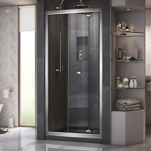 Butterfly 30-inch to 31-1/2-inch x 72-inch Framed Bi-Fold Shower Door in Chrome