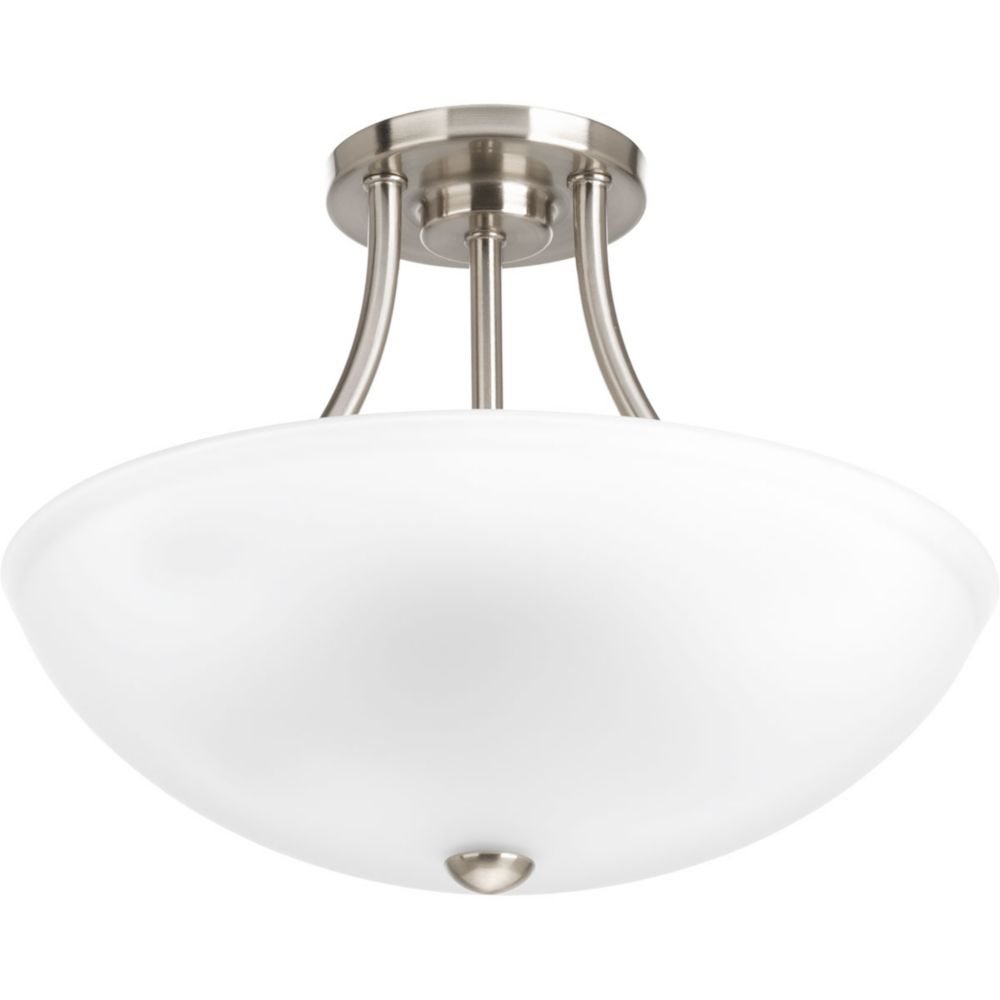 Progress Lighting Gather Collection 2-light Brushed Nickel Semi-Flushmount