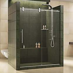 DreamLine Enigma 56-inch to 60-inch x 79-inch Frameless Sliding Shower Door in Polished Stainless Steel and 1/2-inch Exclusive Glass