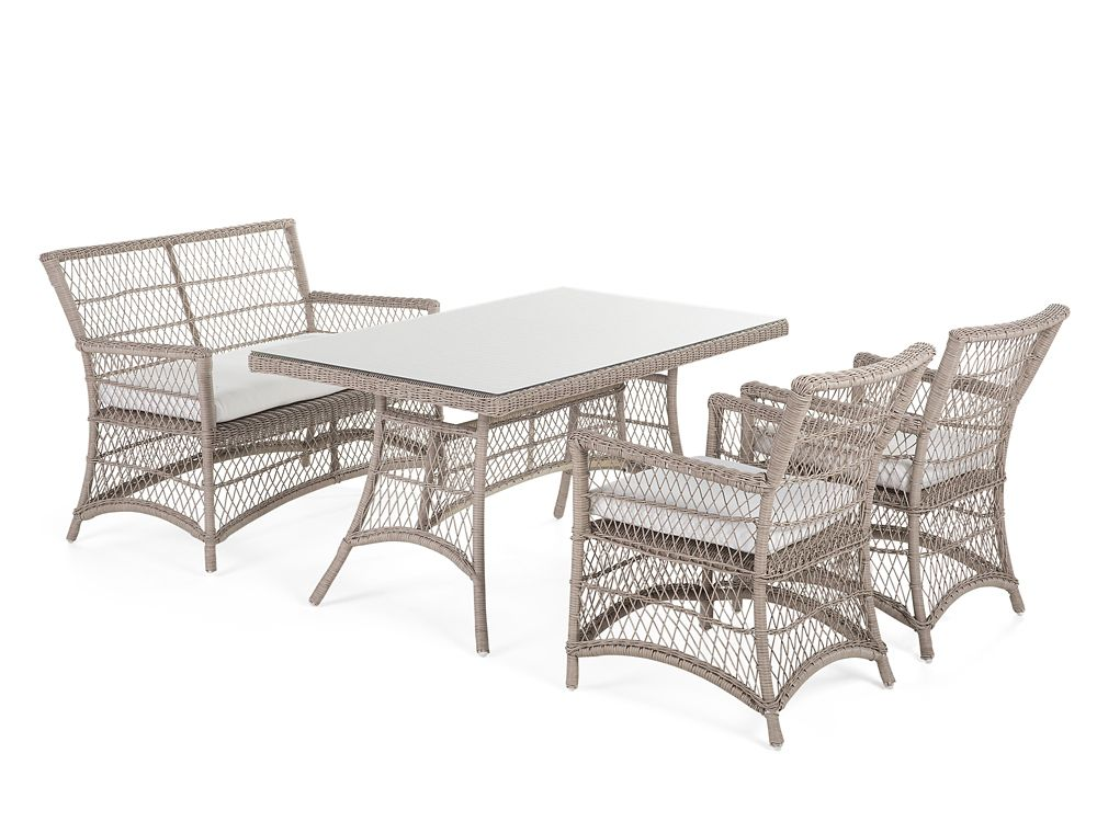 Barlet Wicker Patio Dining Set With Bench And