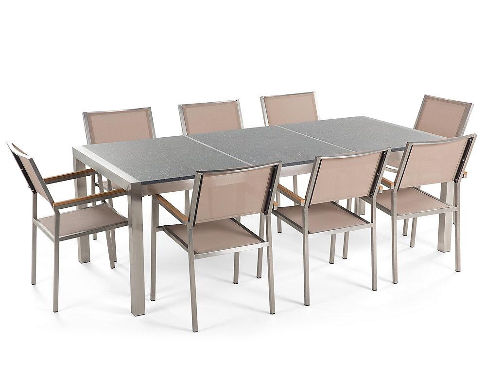 Table de jardin acier inox - plateau granit triple noir flambé 220 cm avec  8 chaises - Grosseto