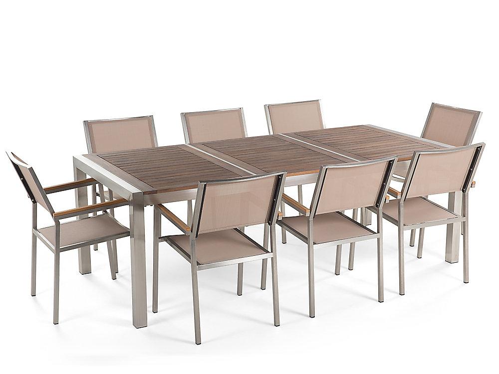 Table de jardin acier inox - plateau granit triple bois 220 cm avec 8  chaises - Grosseto