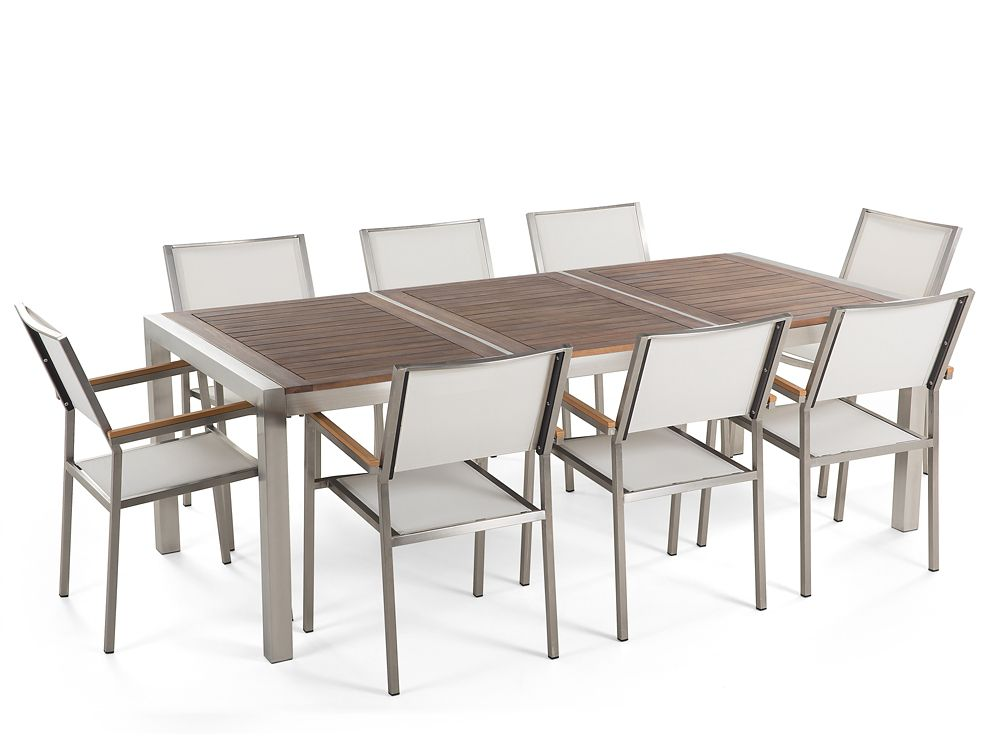 Table de jardin acier inox - plateau bois 220 cm - 8 chaises en textile  blanc - Grosseto