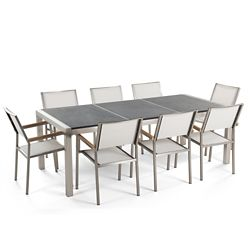 Beliani Gresso Flamed Granite Garden Table with 8 Chairs in White