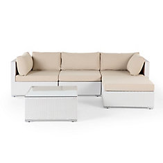Velago Sectional Outdoor Sofa Set Modern White Wicker Furniture Savosa White The Home