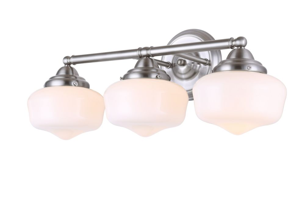 Canarm Ltd Carlo 3-Light Brushed Nickel Vanity with Opal Glass
