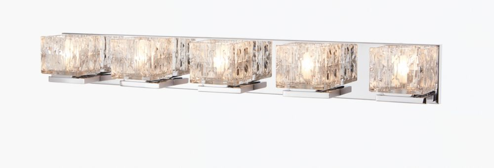 Home Decorators Collection Courdreaux 5-Light Chrome Vanity Light with Square Glass Shades