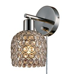 Globe Electric Vendome 1-Light Brushed Steel & Crystal Plug-In or Hardwire Wall Sconce