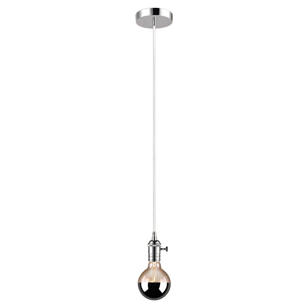 Globe Electric Kimberlite 1-Light Chrome & White Plug-In or Hardwire Mini Pendant