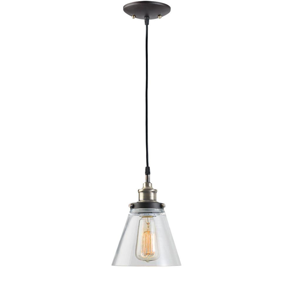Globe Electric Jackson 1-Light Antique Brass & Brown Vintage Edison Hanging Pendant