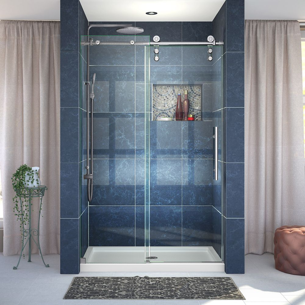 DreamLine Enigma-Z 44-inch to 48-inch x 76-inch Frameless Sliding Shower Door in Polished Stainless Steel
