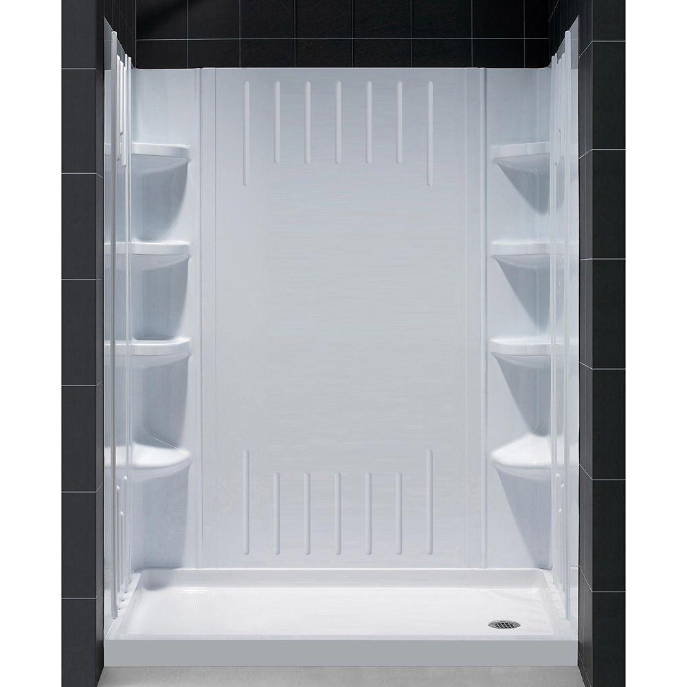 DreamLine SlimLine 36-inch x 60-inch Single Threshold Shower Kit Base in White Right Hand Drain Base with Back Walls