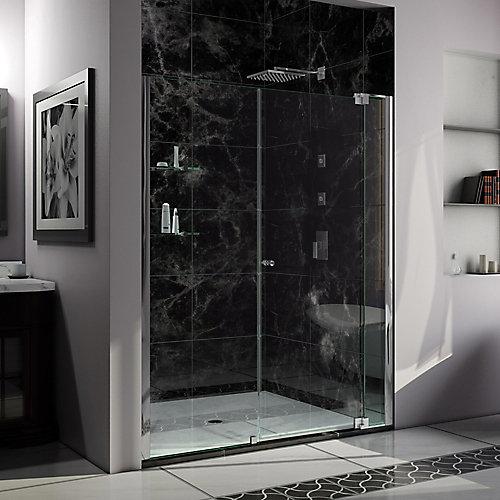 Allure 54-inch to 61-inch x 73-inch Semi-Frameless Pivot Shower Door in Chrome