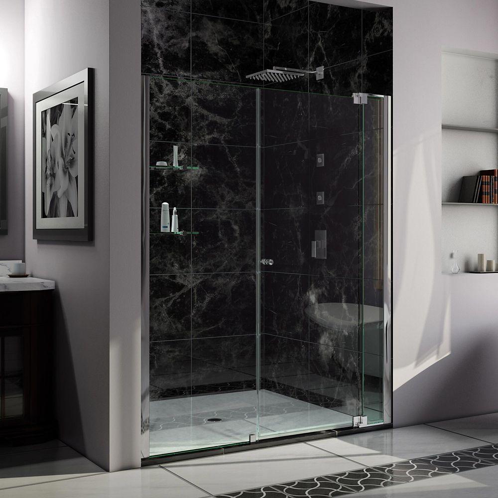 DreamLine Allure 54-inch to 61-inch x 73-inch Semi-Frameless Pivot Shower Door in Chrome