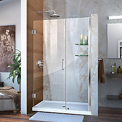 DreamLine Unidoor 43 to 44-inch x 72-inch Frameless Hinged Pivot Shower Door in Chrome with Handle