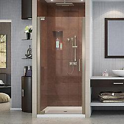 DreamLine Elegance 32-inch x 32-inch x 74.75-inch Semi-Frameless Pivot Shower Door in Brushed Nickel and Center Drain Shower Base