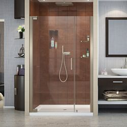 DreamLine Elegance 42-1/2-inch to 44-1/2-inch x 72-inch Semi-Frameless Pivot Shower Door in Brushed Nickel