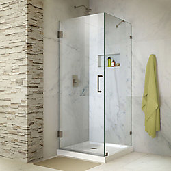 Unidoor Lux 30-inch x 30-inch x 72-inch Frameless Hinged Shower Enclosure in Brushed Nickel