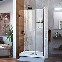 DreamLine Unidoor 38 to 39-inch x 72-inch Frameless Hinged Pivot Shower Door in Oil Rubbed Bronze with Handle