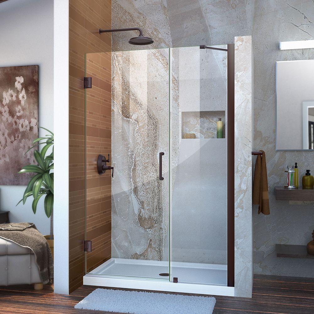 Unidoor 41 to 42-inch x 72-inch Frameless Hinged Pivot Shower Door in Oil Rubbed Bronze with Handle