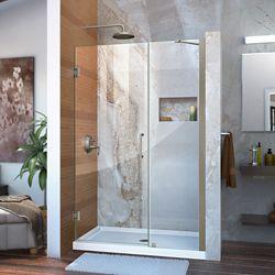 DreamLine DreamLine Unidoor 109 cm x 183 cm Porte de douche Articulée Sans cadre, fini Nickel Brossé