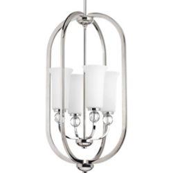 Progress Lighting Collection Elina – Luminaire suspendu pour entrée à quatreampoules, nickel poli