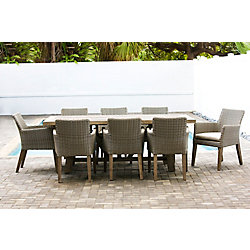 Patio Plus Indo 9-Piece Rectangular Patio Dining Set in Canvas