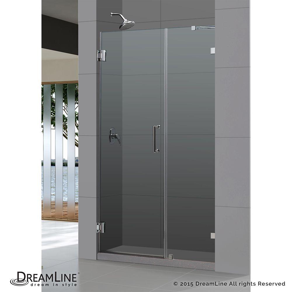 DreamLine Unidoor Lux 47-inch x 72-inch Frameless Pivot Shower Door in Brushed Nickel with Handle